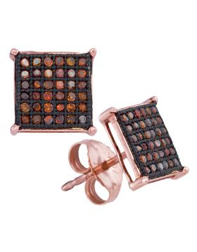 10kt Rose Gold Womens Round Red Color Enhanced Diamond Square Cluster Earrings 1/4 Cttw