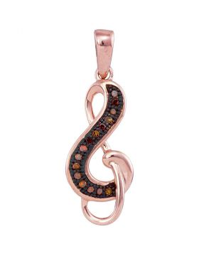 10kt Rose Gold Womens Round Red Color Enhanced Diamond Treble Clef Pendant 1/20 Cttw