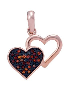 10kt Rose Gold Womens Round Red Color Enhanced Diamond Heart Pendant 1/12 Cttw