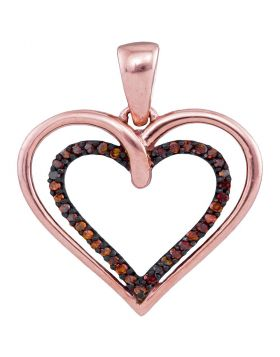 10kt Rose Gold Womens Round Red Color Enhanced Diamond Double Nested Heart Pendant 1/10 Cttw