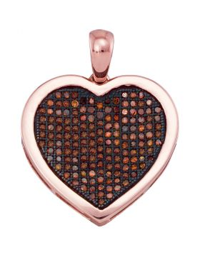 10kt Rose Gold Womens Round Red Color Enhanced Diamond Heart Cluster Pendant 1/2 Cttw