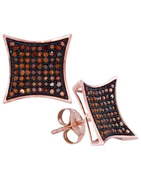 10kt Rose Gold Womens Round Red Color Enhanced Diamond Kite Cluster Earrings 3/8 Cttw