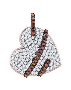 10kt Rose Gold Womens Round Red Color Enhanced Diamond Lasso Heart Pendant 1/3 Cttw