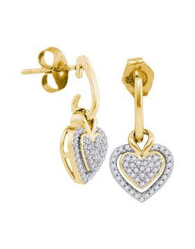 10kt Yellow Gold Womens Round Diamond Dangle Earrings 1/5 Cttw