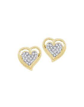 10kt Yellow Gold Womens Round Diamond Milgrain Heart Cluster Earrings 1/10 Cttw