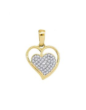 10kt Yellow Gold Womens Round Diamond Heart Milgrain Pendant 1/10 Cttw