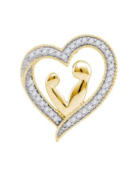 10kt Yellow Gold Womens Round Diamond Heart Mother Child Embrace Pendant 1/10 Cttw