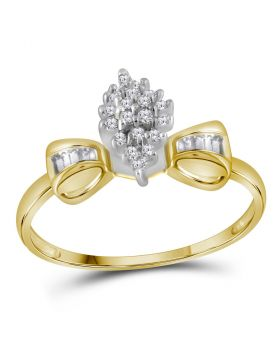 10kt Yellow Gold Womens Round Prong-set Diamond Oval Cluster Baguette Ring 1/10 Cttw