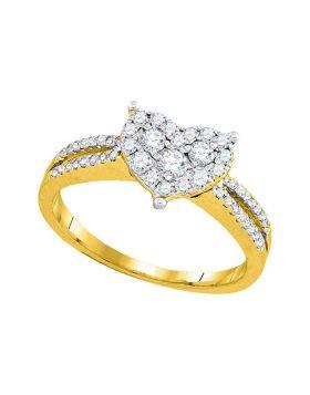 14kt Yellow Gold Womens Round Diamond Heart Cluster Split-shank Ring 1/2 Cttw