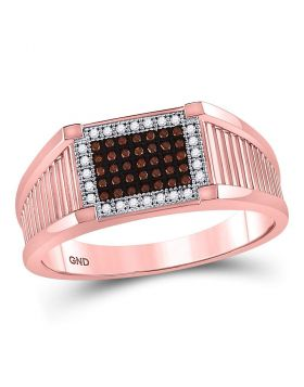 10KT ROSE GOLD ROUND RED COLOR ENHANCED DIAMOND RECTANGLE CLUSTER RING 1/5 CTTW