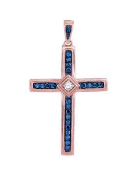 10kt Rose Gold Womens Round Diamond Cross Pendant 1/4 Cttw