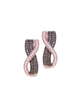 10kt Rose Gold Womens Round Cognac-brown Color Enhanced Diamond Vertical Crossover Stripe Hoop Earrings 1/2 Cttw
