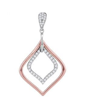 10kt Two-tone White Rose Gold Womens Round Diamond Pointed Oval Pendant 1/4 Cttw