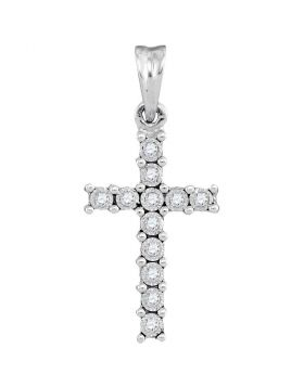 10kt White Gold Womens Round Diamond Cross Pendant 1/20 Cttw