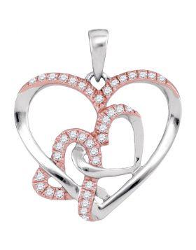 10kt White Gold Womens Round Diamond Rose-tone Heart Pendant 1/4 Cttw