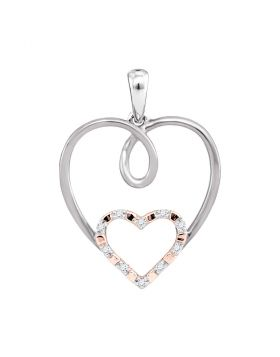 10kt White Gold Womens Round Diamond Rose-tone Double Nested Heart Pendant 1/20 Cttw