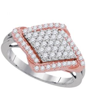 10kt White Gold Womens Round Diamond Pink-tone Frame Diagonal Square Cluster Ring 1/2 Cttw