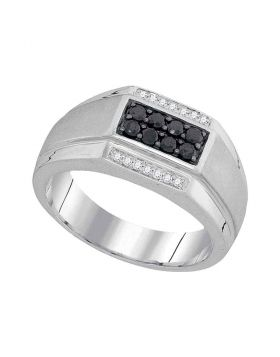 10KT WHITE GOLD ROUND BLACK COLOR ENHANCED DIAMOND RECTANGLE CLUSTER RING 3/8 CTTW