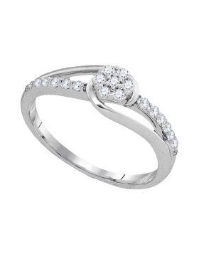 10kt White Gold Womens Round Diamond Flower Cluster Slender Ring 1/4 Cttw