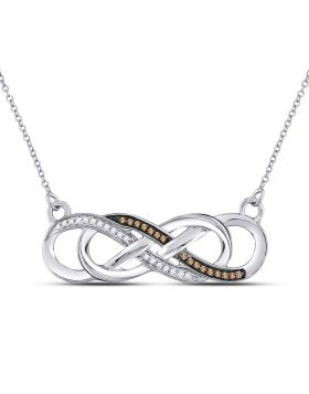 10kt White Gold Womens Round Brown Color Enhanced Diamond Infinity Necklace 1/8 Cttw
