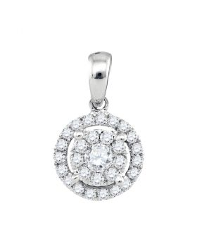 14kt White Gold Womens Round Diamond Concentric Circle Frame Cluster Pendant 1/3 Cttw