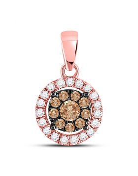 14kt Rose Gold Womens Round Brown Color Enhanced Diamond Circle Cluster Pendant 1/3 Cttw