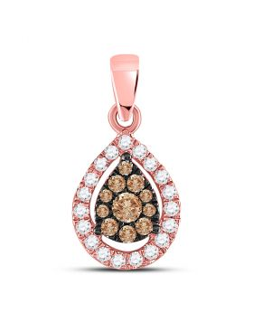 14kt Rose Gold Womens Round Brown Color Enhanced Diamond Teardrop Cluster Pendant 1/3 Cttw