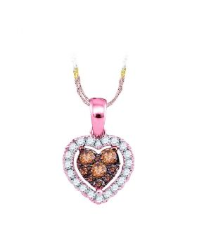 14kt Rose Gold Womens Round Cognac-brown Color Enhanced Diamond Frame Heart Cluster Pendant 1/3 Cttw
