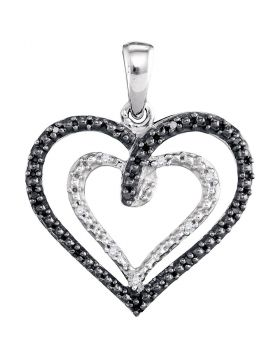 Sterling Silver Womens Round Black Color Enhanced Diamond Double Nested Heart Pendant 1/20 Cttw