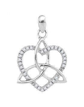 10kt White Gold Womens Round Diamond Triquetra Heart Pendant 1/10 Cttw