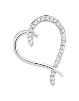 10kt White Gold Womens Round Diamond Segmented Heart Outline Pendant 1/6 Cttw