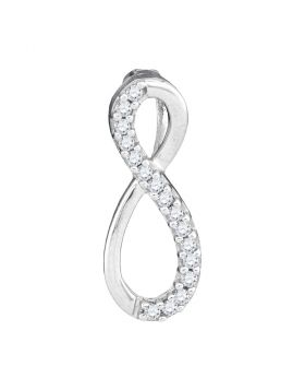 10kt White Gold Womens Round Diamond Infinity Love Pendant 1/10 Cttw