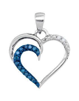 10kt White Gold Womens Round Blue Color Enhanced Diamond Heart Outline Pendant 1/10 Cttw