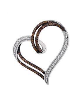 Sterling Silver Womens Round Cognac-brown Color Enhanced Diamond Heart Pendant 1/5 Cttw