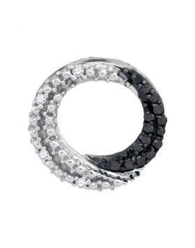 10kt White Gold Womens Round Black Color Enhanced Diamond Circle Pendant 1/6 Cttw