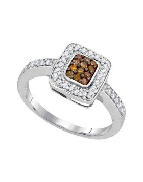 10kt White Gold Womens Round Cognac-brown Color Enhanced Diamond Square Cluster Ring 1/3 Cttw