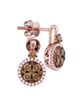 14kt Rose Gold Womens Round Cognac-brown Color Enhanced Diamond Cluster Frame Earrings 7/8 Cttw