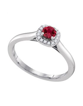 14kt White Gold Womens Round Natural Ruby Solitaire Diamond Halo Bridal Ring 1/3 Cttw