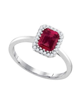 14kt White Gold Womens Cushion Ruby Solitaire Rectangle Frame Diamond Ring 1.00 Cttw