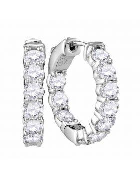 14kt White Gold Womens Round Diamond Hoop Earrings 3-7/8 Cttw