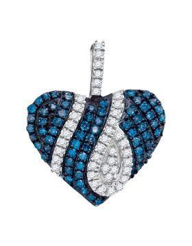10kt White Gold Womens Round Blue Color Enhanced Diamond Striped Heart Pendant 1/3 Cttw