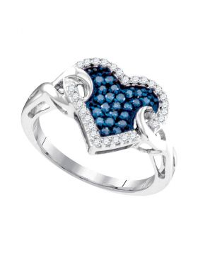 10kt White Gold Womens Round Blue Color Enhanced Diamond Heart Cluster Knot Ring 1/3 Cttw