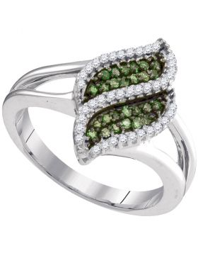 10kt White Gold Womens Round Green Color Enhanced Diamond Cascading Fashion Ring 1/3 Cttw