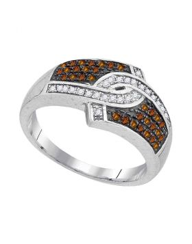 10kt White Gold Womens Round Cognac-brown Color Enhanced Diamond Hooked Stripe Band 1/3 Cttw
