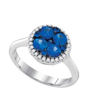 14kt White Gold Womens Round Blue Sapphire Cluster Diamond Halo Bridal Ring 1.00 Cttw