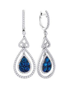 14kt White Gold Womens Round Blue Sapphire Teardrop Diamond Dangle Earrings 1-5/8 Cttw
