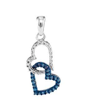 10kt White Gold Womens Round Blue Color Enhanced Diamond Double Heart Dangle Pendant 1/6 Cttw