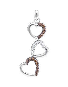 10kt White Gold Womens Round Cognac-brown Color Enhanced Diamond Triple Heart Pendant 1/6 Cttw