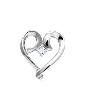 10kt White Gold Womens Round Diamond Solitaire Heart Pendant 1/20 Cttw