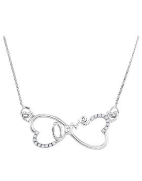 Sterling Silver Womens Round Diamond Heart Infinity Love Pendant Necklace 1/10 Cttw